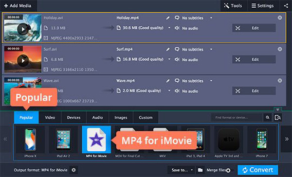 mp4 for imovie output format